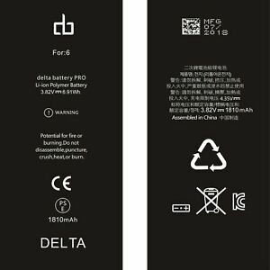GENUINE ORIGINAL ® DELTA BATTERY REPLACEMENT BATTERY FOR APPLE iPHONE 6 1810mAh