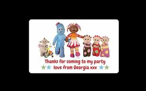 42 Personalised In the Night Garden Birthday Party Stickers ThankYou Sweet Cones