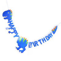 Happy Birthday Dinosaur Paper Banner Hanging Diy Party Decor Bunting Supplies FE
