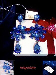 Orecchini Donna Pendenti SWAROVSKI ORIGINALI Cristalli Blu Argento Gioielli oro