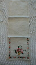 """Antique ORNATE EMBROIDERED SMALL DOILY Shades of Pink Floral, 16-1/2""""x6"""""""