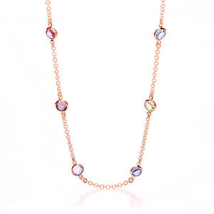 9 ct Rose Gold Plated Chain Necklace Multi Colour Cubic Zirconia Charm Stones