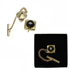 Black Glass Inlay Rhinestone Tie Tack Chain Gold Tone Mens Boxed Made in USA