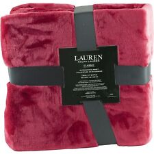 "Ralph Lauren Micromink Throw Blanket Twin Size 66"" x 90"" Red"