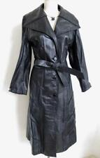 Vintage 70s Country Pacer Black Leather Coat M L Big Collar Braided Trim Trench
