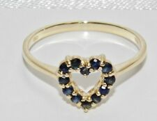 10ct / 10k Gold Blue Sapphire Heart Cocktail Ring size M