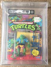 1989 TMNT Genghis Frog 14 Back AFA 80 MOC Unpunched Pop-Up Display Ninja Turtles