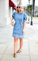 NWT Who What Wear Women Mini Shift Dress Stonewash Denim Puff Sleeve 1980s