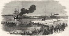 HM Steam-ship Spitfire towing large timber raft, on the Dnieper. Ukraine, 1855