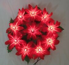 Vintage Lighted Poinsettia Christmas Tree Topper Sweet!