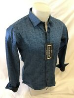 Mens FERRETI By BARABAS Designer Dress Shirt Woven TEAL GEOMETRIC SLIM FIT 4311