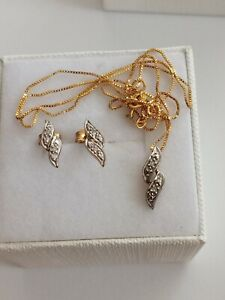 9Kt Gold Matching Earrings and Necklace Set