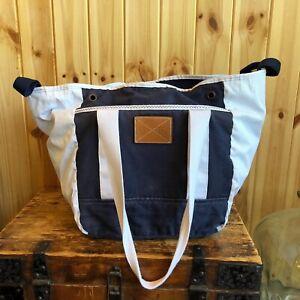 MUSTO Shoulder Bag Underarm Handbag Blue White Large Tote Leather Trim Beach