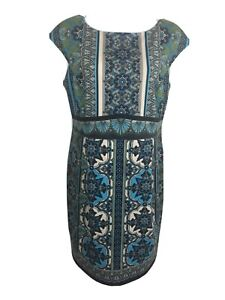 LONDON TIMES Teal Fitted Print Shift Dress Size US 14 Small Fit Aus 16/18