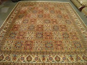 New Bakhtiari Pestal Flower Area Rug Wool Silk Hand Knotted Carpet (12.1 x 9.2)'