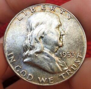 1953 P Original Toned Franklin Half Dollar-- Looks GEM BU!! Nice luster