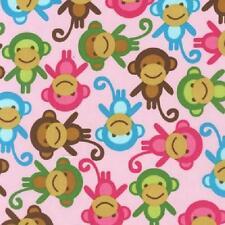 Fat trimestre urban zoologie singe en coton rose sur quilting fabric-robert Kaufman