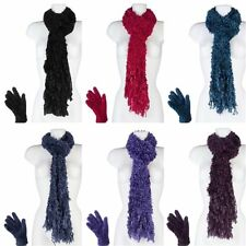 Ladies Winter Warm Luxury Feather Cosy Soft Scarf & Gloves Set Gift Present