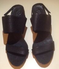 """NWOB ♡Pedro Garcia♡ Womens Black Leather Slingback Sandals Shoes """"Willy""""♡Size 40"""