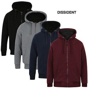 Dissident Mens Warm Hooded Jacket Zip Up Hoodie Heavy Sherpa Fleece Lined Jumper