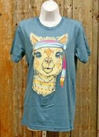 Hippie Trippy Llama Blue Graphic Tee Shirt Unisex Size S-XL Casual Retro