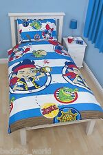 SINGLE BED JAKE DOUBLOONS DUVET COVER SET NEVER LAND PIRATES SKULLY BLUE GREEN