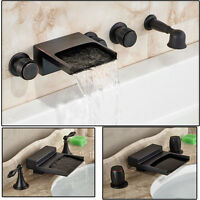 Oil Rubbed Bronze Widespread Bathroom Tub Faucet Waterfall Spout Sink Mixer Tap1