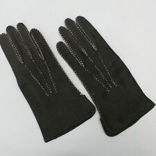 New listing Vintage Black Suede Leather Contrast Stitching Accent Gloves Size 7 1/4