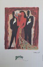"""""""PERRIER L'eau,l'air,la vie"""" Affiche originale entoilée VILLEMOT 1983 44x65cm"""