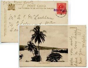 BARBADOS 1904 PPC [Jamaica] GB 1d pmk BARBADOS cds  violet SEA POST via New YorK