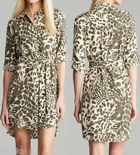 NWT DVF Diane von Furstenberg Animal Print Silk Shirt Dress Size 0