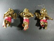 "Rare Set of 3 Vintage Biltmore Estate Gold Cherub 5"" Angels Ornaments Nib"