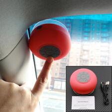 Red Car Suction Bluetooth Speaker Microphone Call Handsfree Shower Waterproof