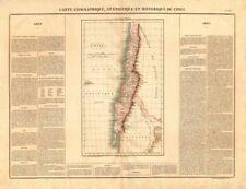 """""""Chili' . Chile pre-Magallanes Aisen Arica Tarapacá adquisiciones. Buchon 1825 Mapa"""