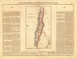 'Chili'. Chile pre-Magallanes Aisen Arica Tarapaca acquisitions. BUCHON 1825 map