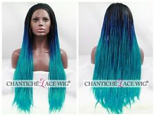 Women's Ombre Synthetic Hair Long Braided Lace Front Wigs Light Green Heat Good