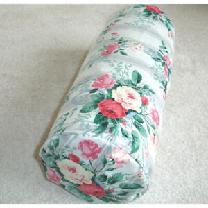6x16 Round Bolster Cover Vintage Roses Cylinder Cushion Case Pink Yellow Stripes