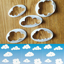 5pcs Plastic Cloud Shape Modeling Cutter Mold Cake Fondant Sugar Crafts Decor