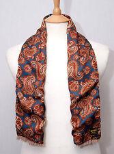 Duggie mens English made reversible wool viscose paisley pattern scarf muffler