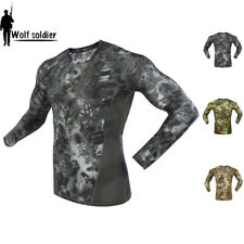 Mens Military Combat Shirt Army Tactical T-Shirt Long Sleeve Casual Typhon Camo