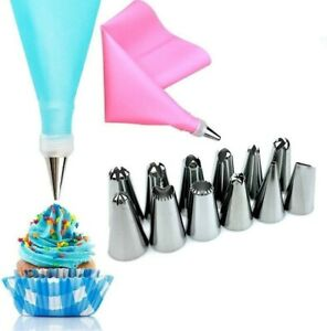 Cake Decorating Equipment 14 Pieces Icing Decoration Kit Piping Nozzle + Silicon
