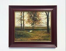 """H. s/ T: S. Vilata: """"Paysage Automnal"""" (M-A) '77 VINTAGE Landscape Oil on canvas"""