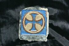 "Rare Antique Blue Cross Tile Glazed 3"" x 3"""