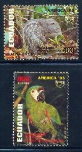 *Ecuador 1993 FAUNA in extinction Bird Parrot UPAEP 93 Yv.1284/85 MNH
