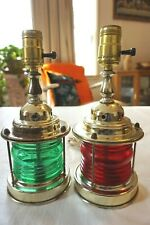 2 Vintage Nautical Table Lamps Port Starboard Red & Green Sailing Ship Decor