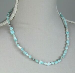 """LARIMAR NUGGET NECKLACE ~ STERLING SILVER 19"""" IN LENGTH"""