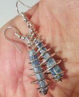 Kyanite Crystal Earrings Dangle Semi Precious Wire Wrapped