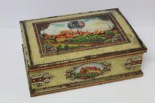 Antigua Caja de Hojalata litografiada bajorelieves AZAFRAN c. 1960  Numerada