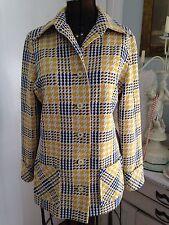 MOD FAB Glen Echo Yellow Navy & White Classic Houndstooth WILD 70's Jacket RARE!