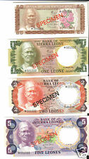 Set of 4 Specimen Notes from Sierra Leone GEM Crisp Uncirculated